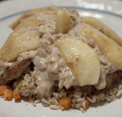 pork tenderloin apple brandy sauce rice pilaf Recipe