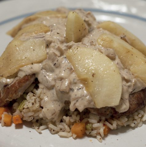 pork tenderloin apple brandy sauce rice pilaf Recipe