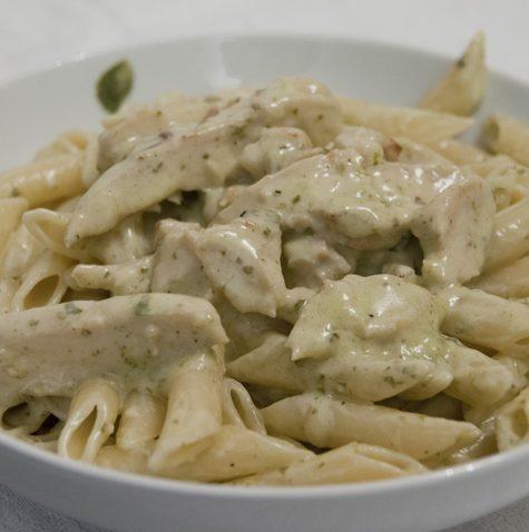 Creamy Pesto Pasta Sauce with Chicken Recipe