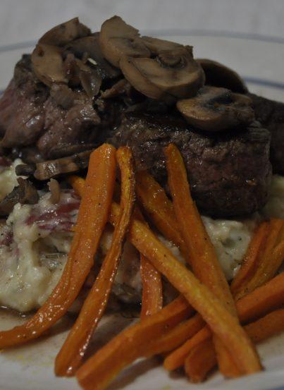 Sauteed Beef Tenderloin in Mushroom Pan Sauce