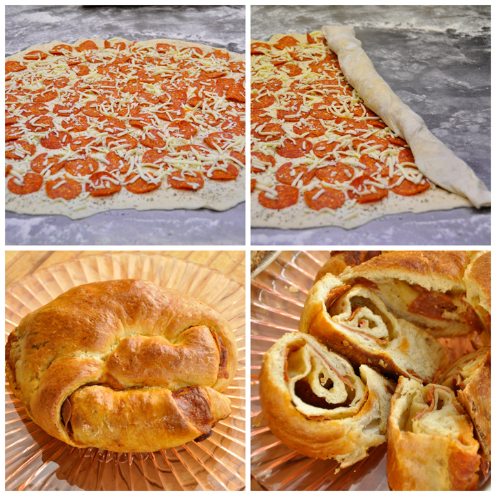 Pepperoni Pizza Bread Appetizer Recipe for the holidays www.wishesndishes.com