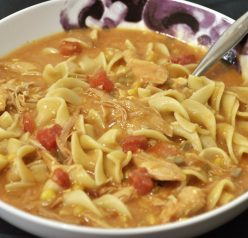 Chicken or Turkey Fiesta Soup recipe has a bit of a kick to it and is a great way to use that leftover turkey from Thanksgiving! Use chicken and make this all year 'round!