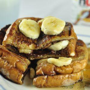 Banana and Nutella Stuffed French Toast Breakfast