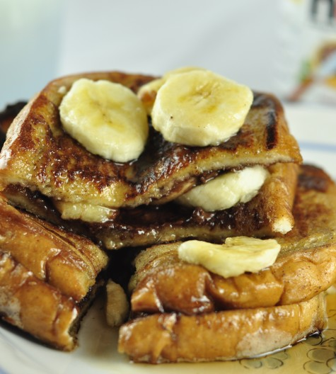 Banana and Nutella Stuffed French Toast Breakfast