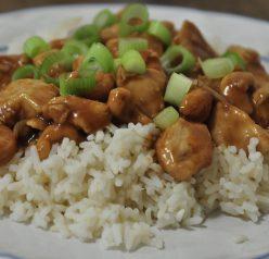 Cashew Chicken served over rice.