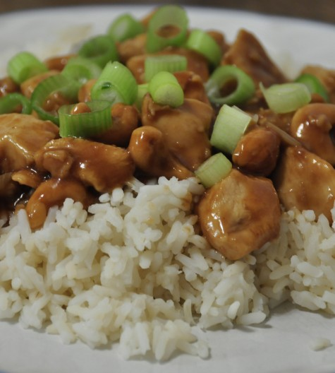 Cashew Chicken served over rice.