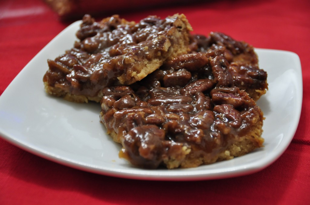 Pecan Pie Bars with Brown Sugar, Honey, and Chopped Pecans.