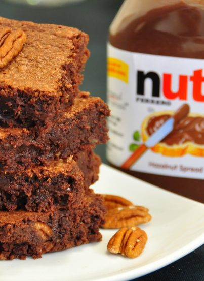Nutella Fudge Brownies recipe with Chopped Pecans.
