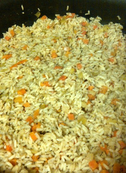 The best easy Rice Pilaf side dish recipe made at the New York Wine and Culinary Center during a cooking class