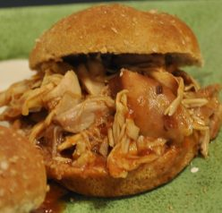 Slow Cooker Crock Pot BBQ Pulled Chicken Sandwich