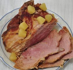 Slow Cooker Crock Pot Holiday Ham with Pineapple, Brown Sugar, and Sprite.