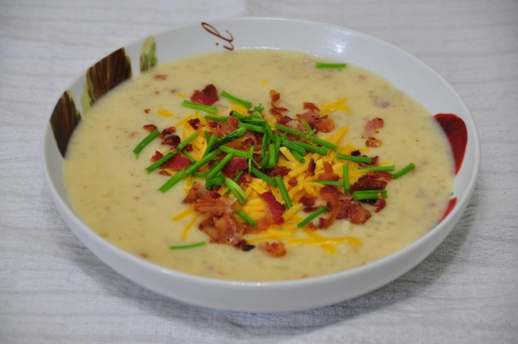 Slow Cooker or Crock Pot Loaded Baked Potato Soup Recipe.