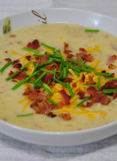 Slow Cooker or Crock Pot Loaded Baked Potato Soup Recipe.