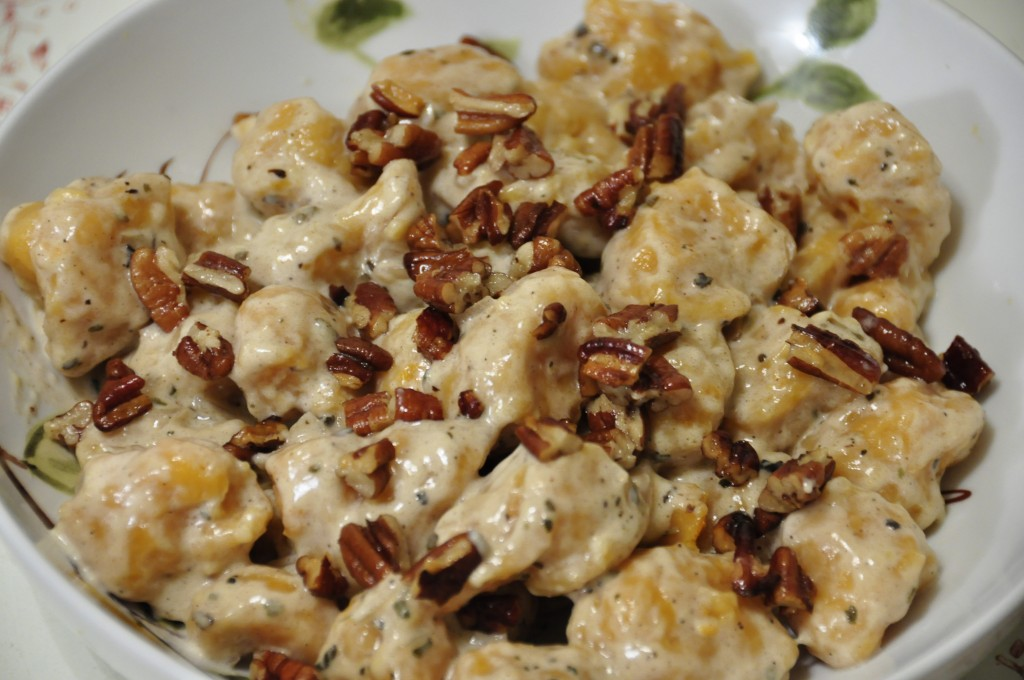 Sweet Potato Gnocchi with Sage Cream Sauce and Toasted Pecans