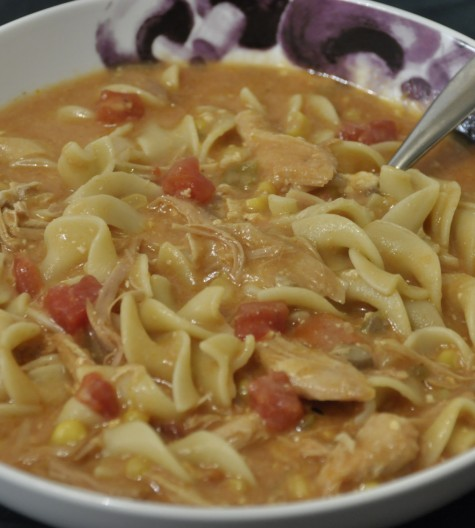Slow Cooker Crock Pot Turkey or Chicken leftover fiesta noodle soup.