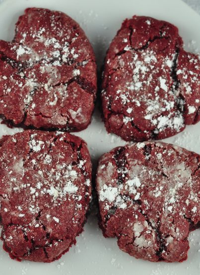 The best Valentine's Day Red Velvet Crinkle Cookies recipe that is perfect for Valentine's day or Christmas dessert