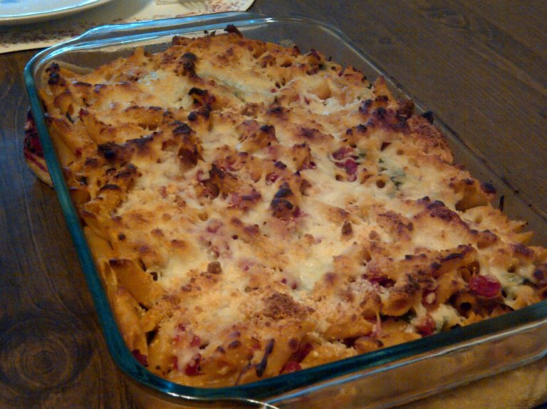 is a baked pasta casserole dinner recipe with chicken sausage, spinach ...