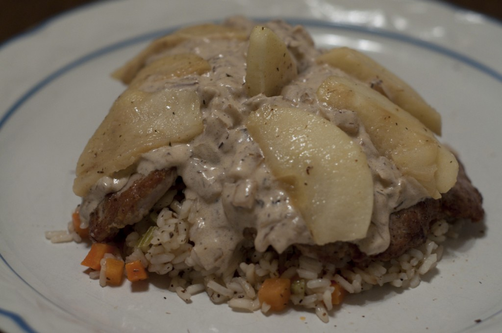Pork tenderloin with apple brandy sauce made at the New York Wine and Culinary Center on Valentine's Day