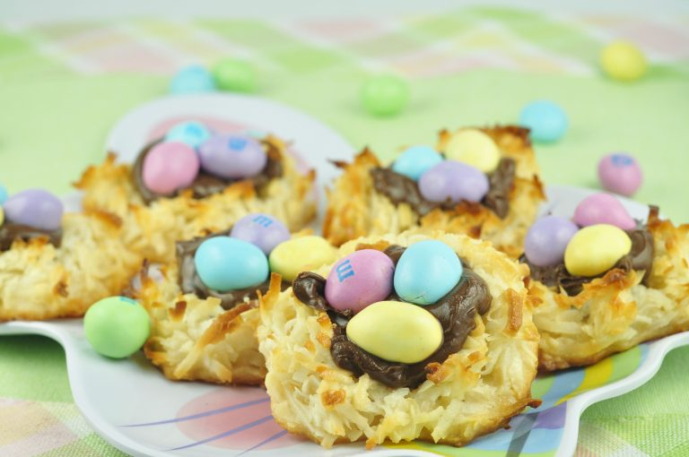 "Coconut Nutella Macaroon Nests recipe for Easter or Spring. This was my first attempt at macaroons and I was surprised how easy they were. I added Easter M and M's as the ""eggs"". How cute are these??"
