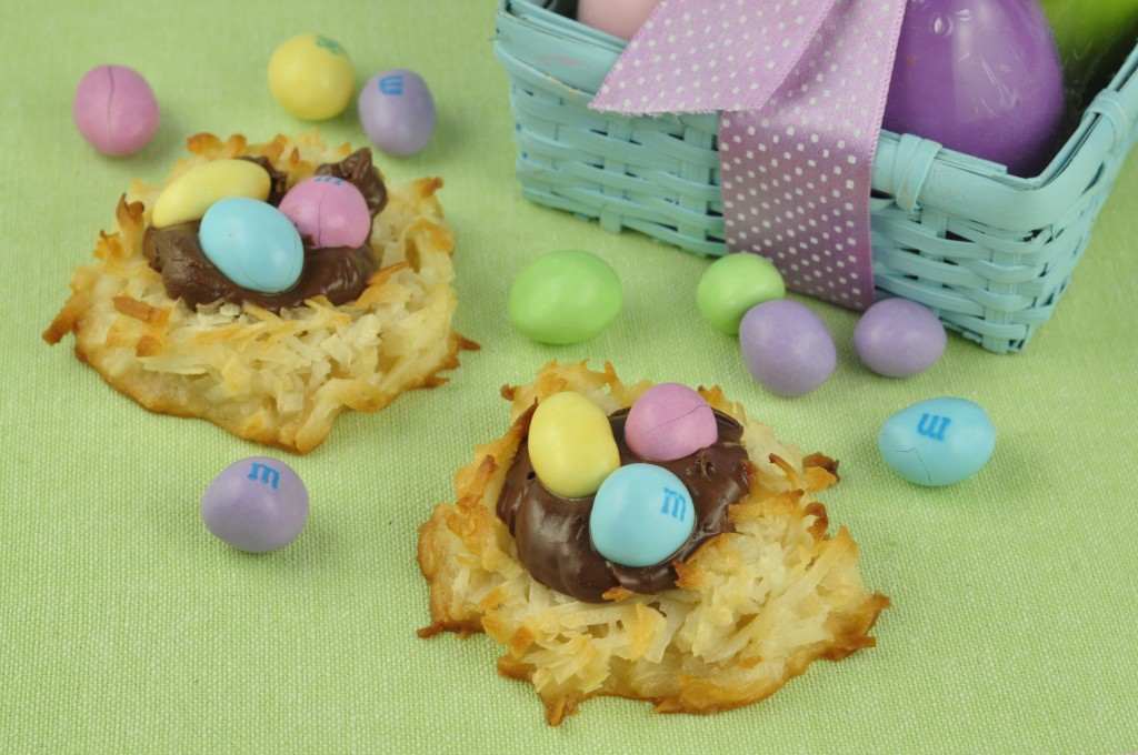 Coconut Nutella Macaroon Nests with Peanut M&M's Recipe for Easter holiday or Spring