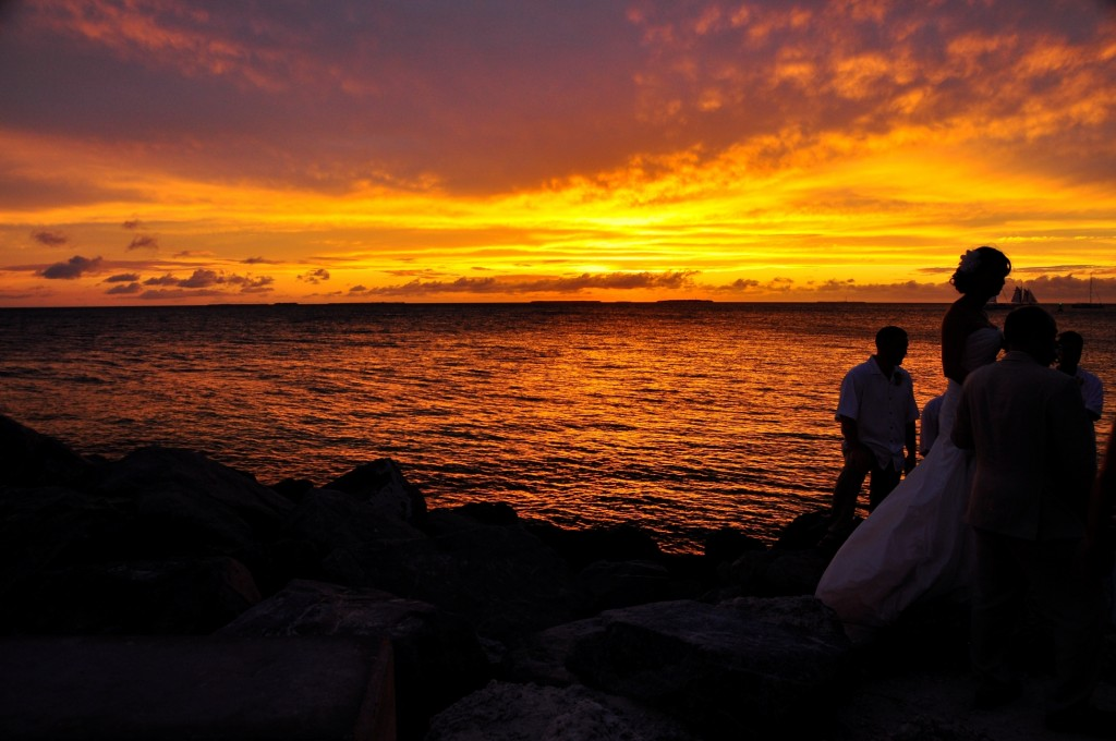 a sunset wedding at Key West, Florida