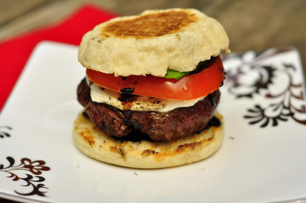 Caprese Burgers on English Muffins with Balsamic Glaze