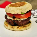 Caprese Burgers & Balsamic Glaze on English Muffins