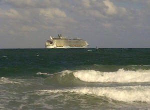 Allure of the Seas leaving port at Fort Lauderdale Beach