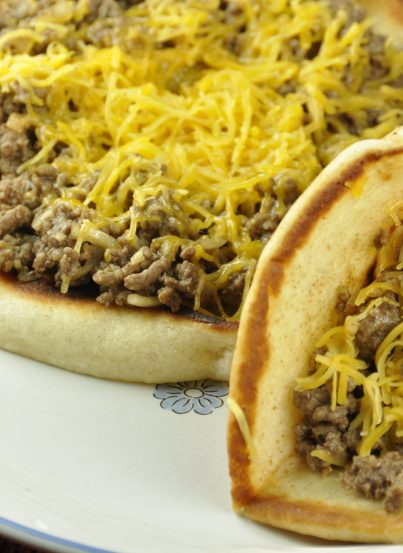 Cheeseburger Flatbread Melts recipe. Variation of tacos and sloppy joes. Very kid-friendly.