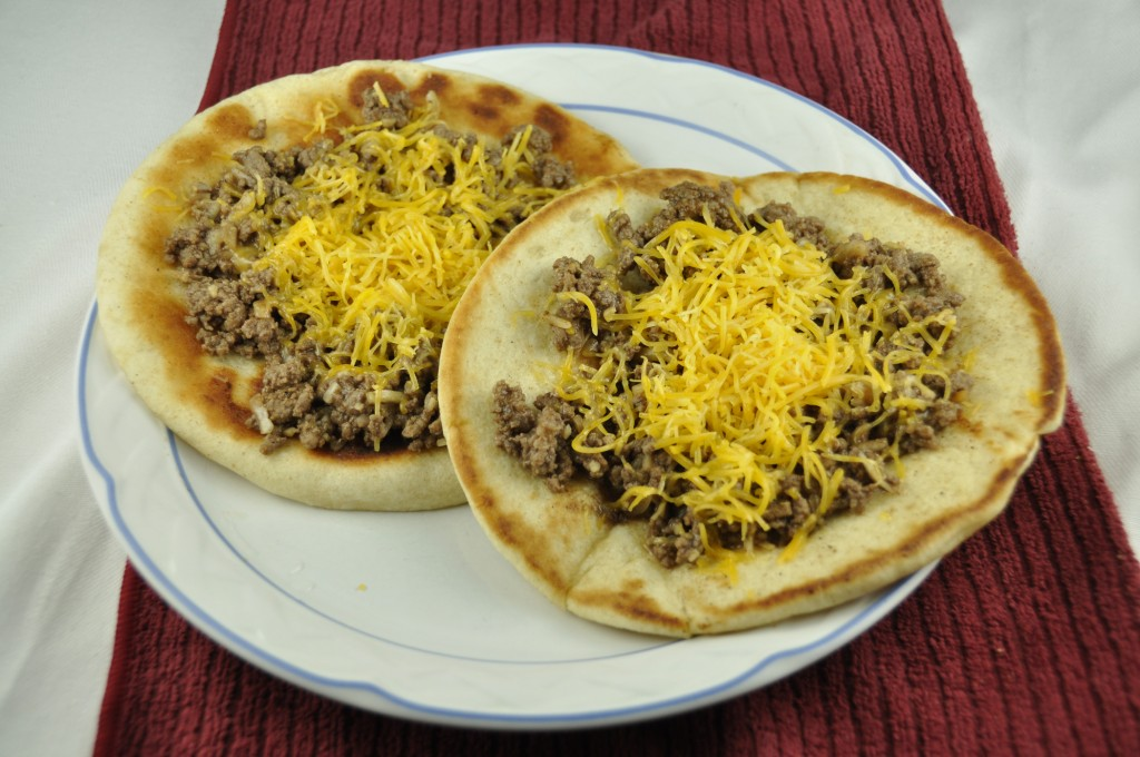 Cheeseburger Flatbread Melts. Variation of tacos and sloppy joes.