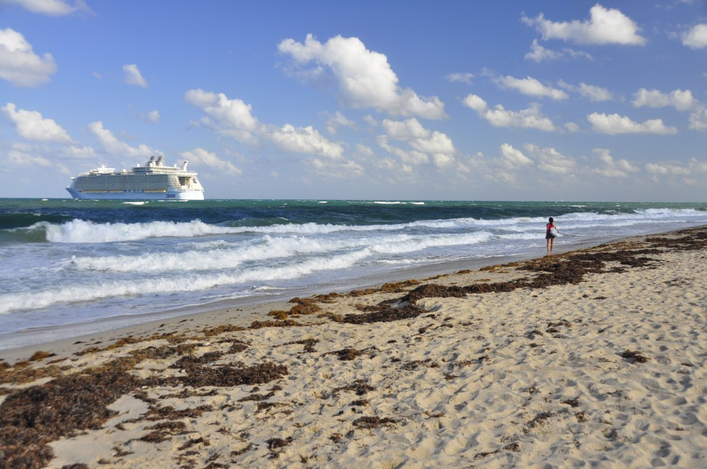 "Ft. Lauderdale beach waving ""goodbye"" to Allure of the Seas"