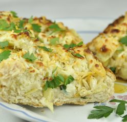 Cheesy Artichoke French Bread Pizza with Panko bread crumbs