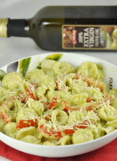 Red Pepper Pasta with Avocado Cream Sauce