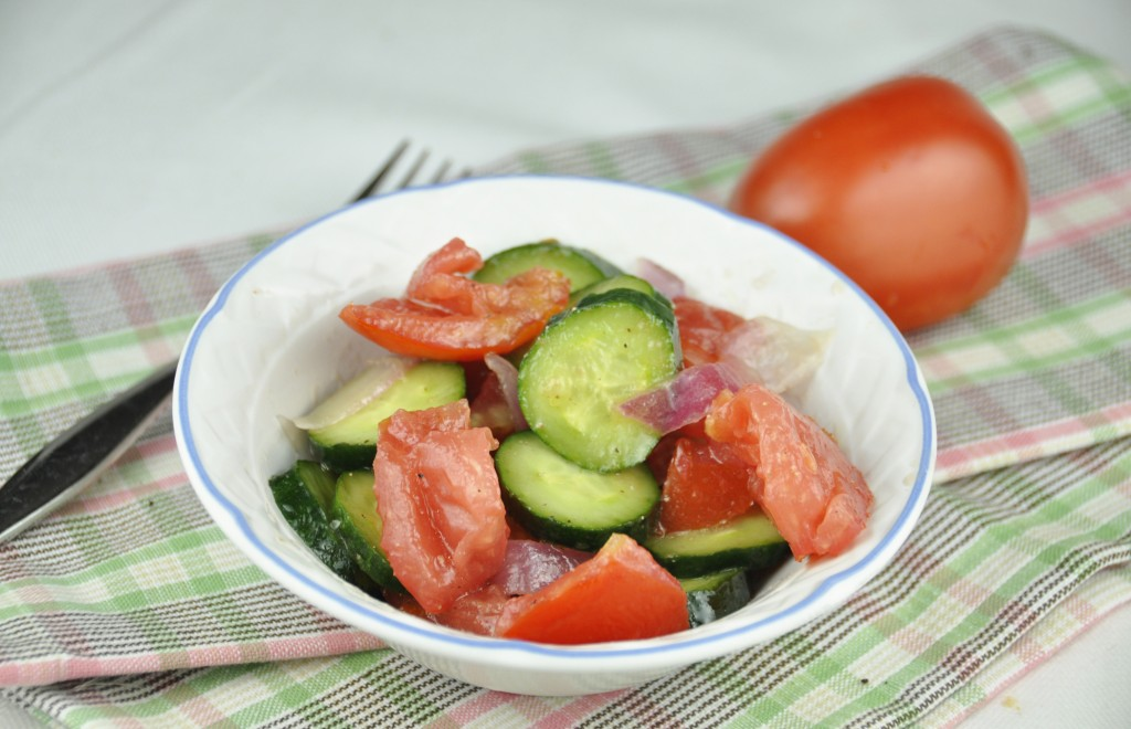 Tomato, Onion and Cucumber Salad made by Rachael Ray on the Food Network.