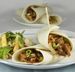 Asian Chicken Wraps in flour tortillas. Served with Chinese Chicken Salad. Delicious and easy!
