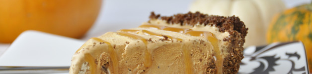 Pumpkin Ice Cream Pie with Gingersnap Crust made with Perry's Ice Cream