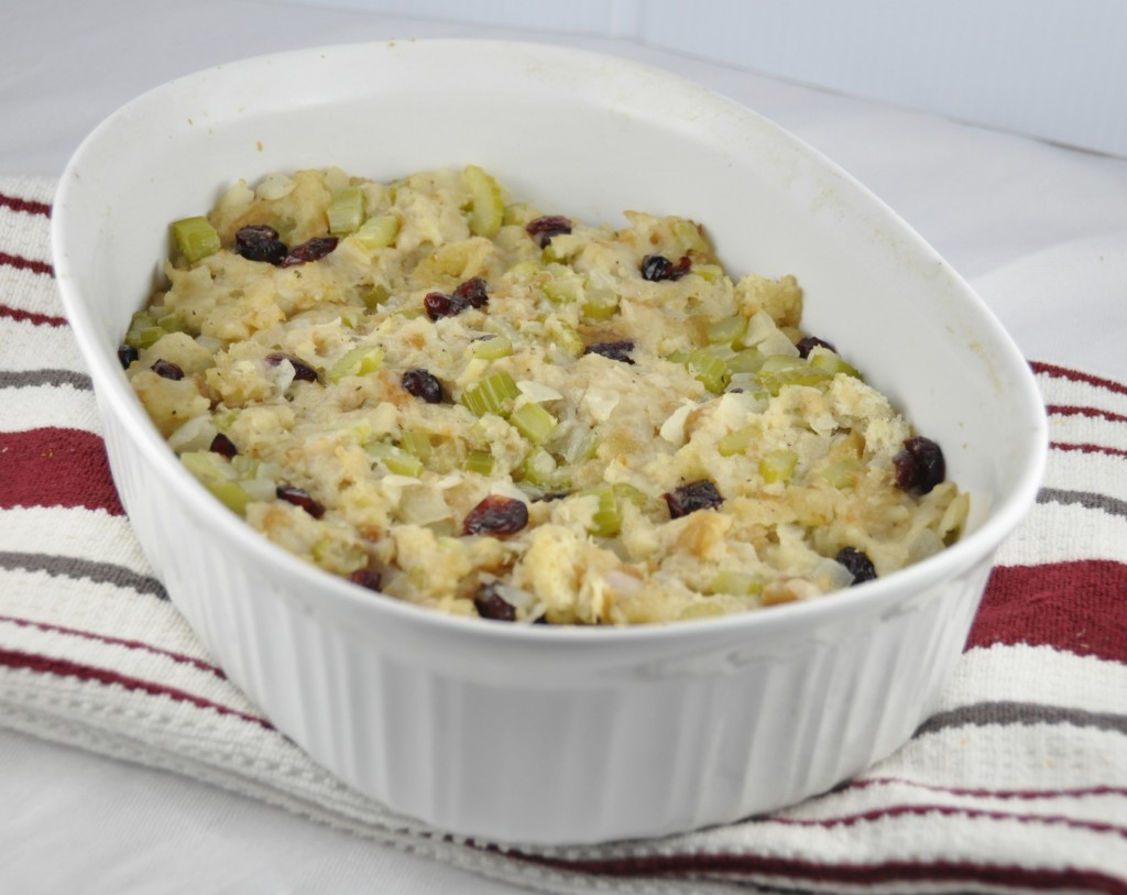 Homemade Bread Stuffing for Thanksgiving with craisins, onions, celery and poultry seasoning. Perfect for a smaller turkey!