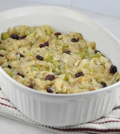 Homemade Bread Stuffing Recipe for Thanksgiving with craisins, onions, celery and poultry seasoning. Perfect for a smaller turkey!