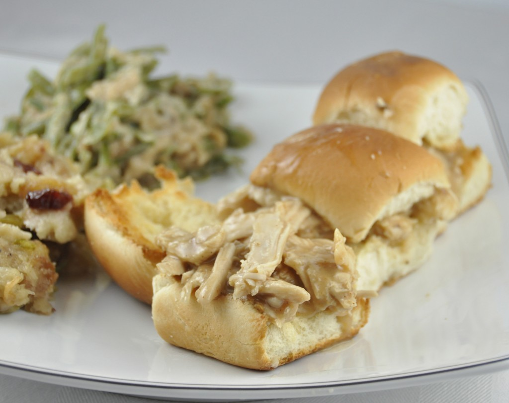 Leftover Turkey Sliders made from leftover Thanksgiving turkey and gravy