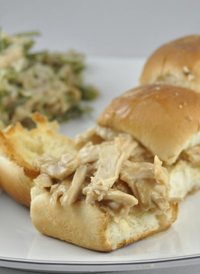 Leftover Turkey Sliders made from leftover Thanksgiving turkey and gravy