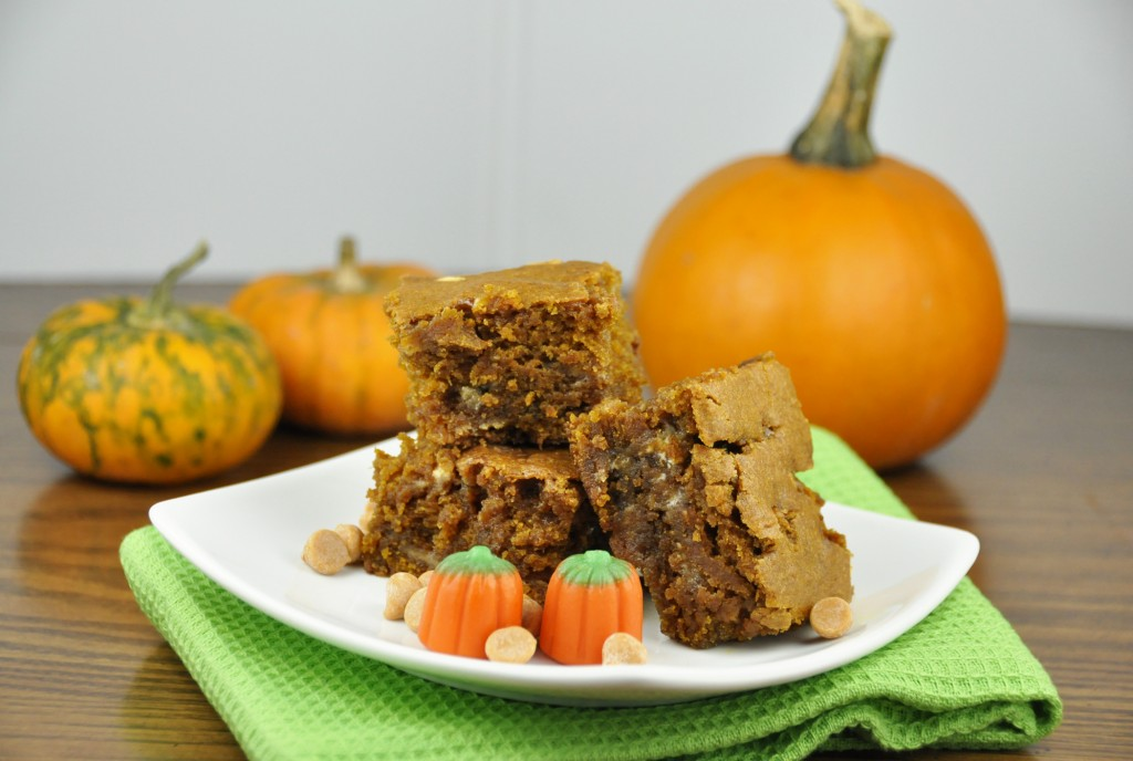 Pumpkin Blondies made with butterscotch chips, white chocolate chips, and fall spices.