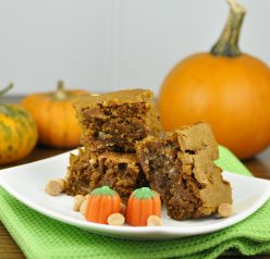 Pumpkin Blondies Recipe made with butterscotch and white chocolate chips