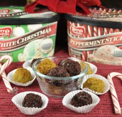 Ice Cream Oreo Truffles made with Perry's Christmas flavors: White Christmas and Peppermint Stick.