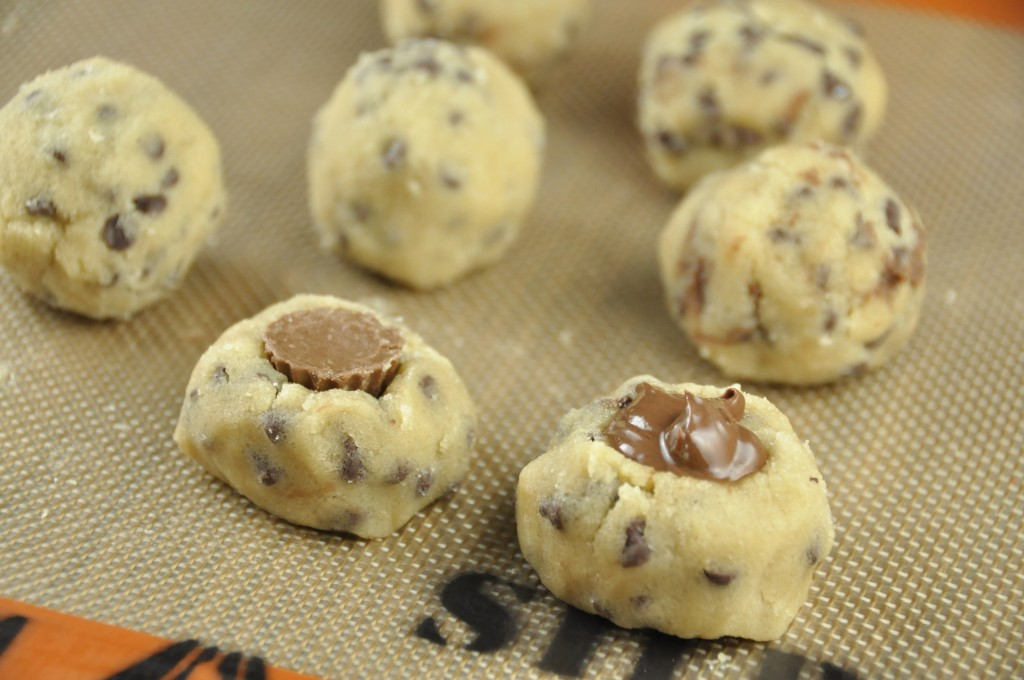 No Bake Stuffed Cookie Dough Bites stuff with Reese's Peanut Butt Cup Minis and Nutella