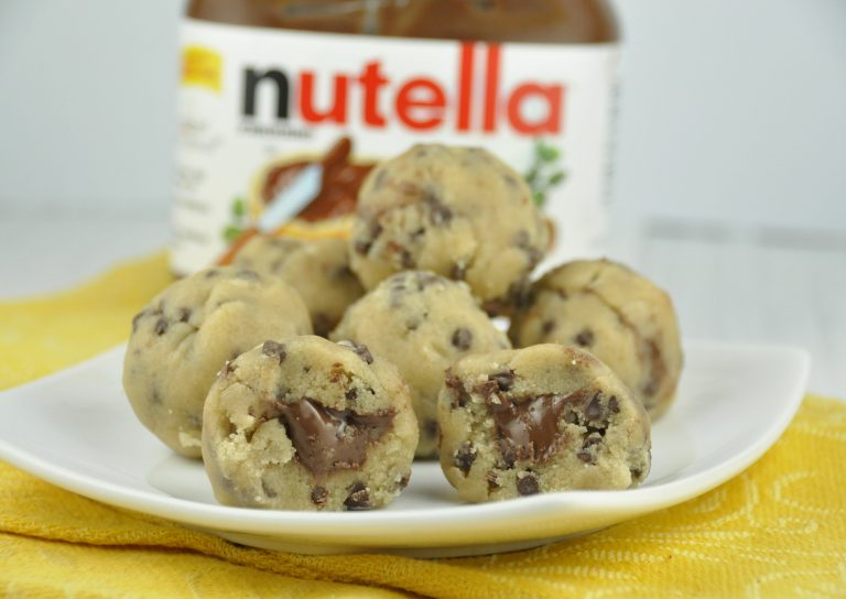 No Bake Stuffed Cookie Dough Bites stuffed with Nutella