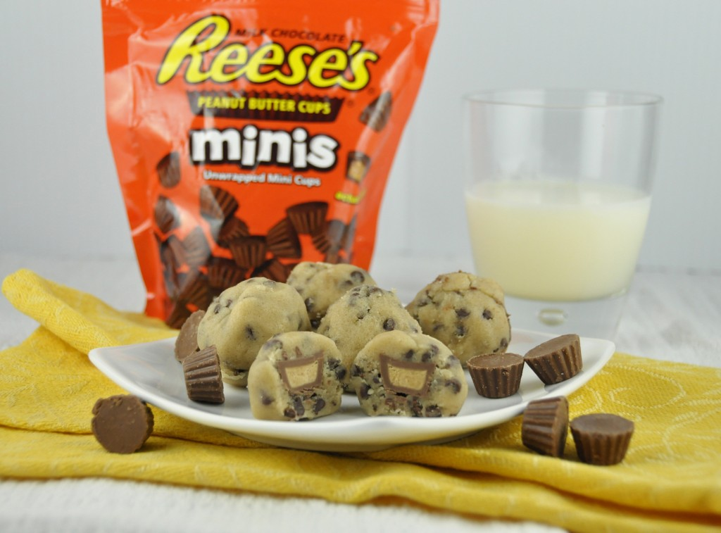 No Bake Stuffed Cookie Dough Bites stuff with Reese's Peanut Butt Cup Minis