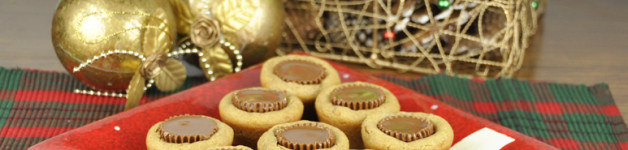Peanut Butter Cup Cookies made with Reese's Peanut Butter Cups for Christmas