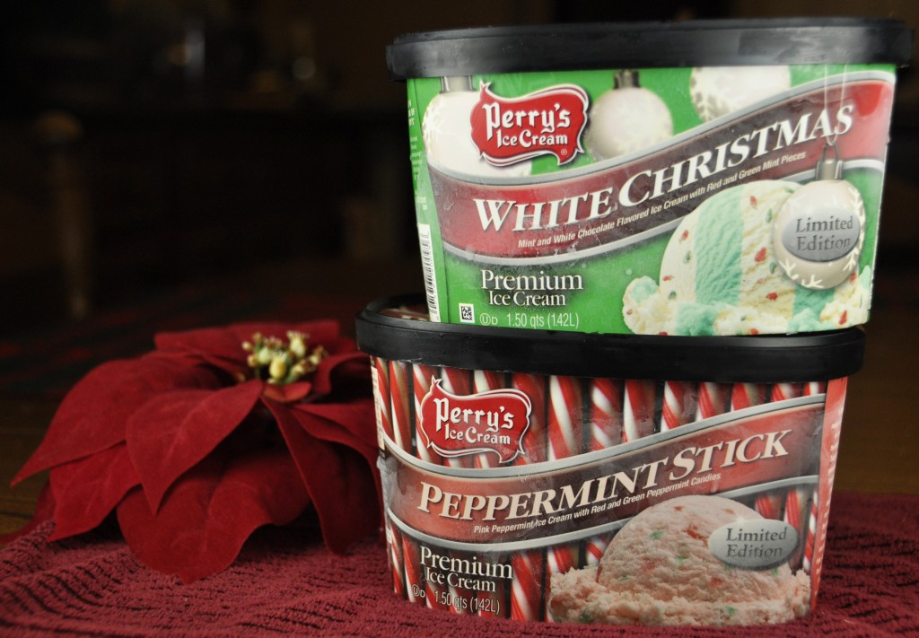 Perry's Christmas Ice Cream Flavors.  White Christmas and Peppermint Stick.