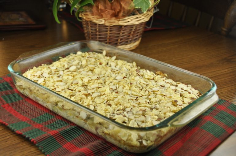 Almond Chicken and Rice Casserole with almond and chips as a crunchy topping!