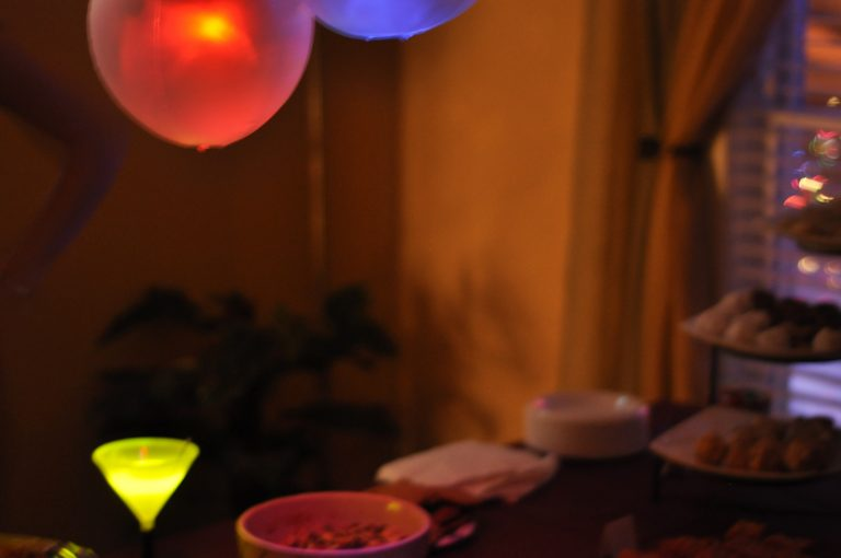 Glow light and cups at our New Year's Eve party
